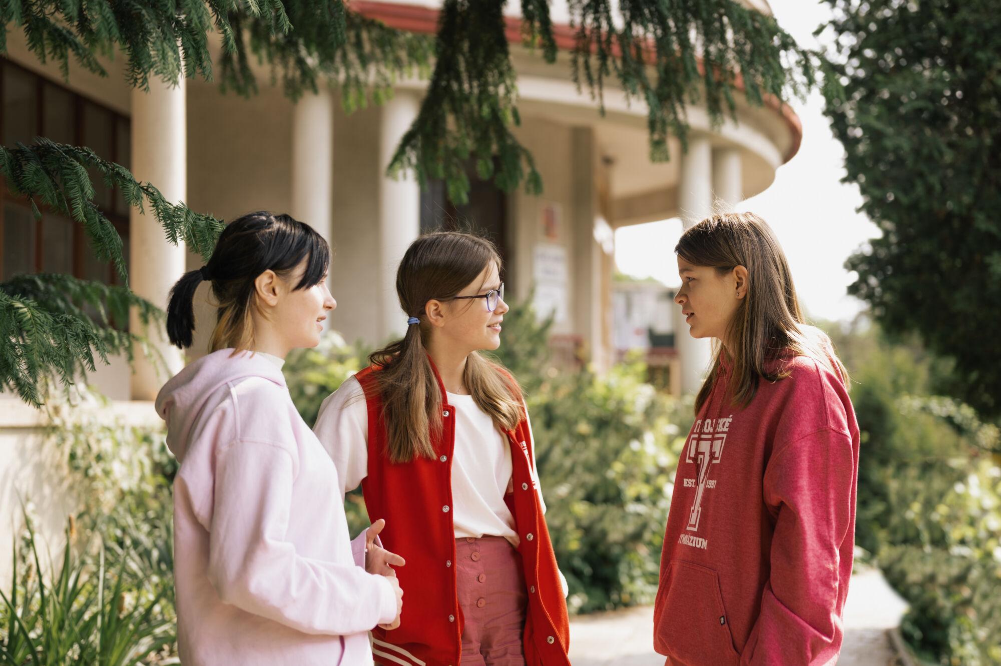 studenti TG komunikující ve venkovních prostorách školy