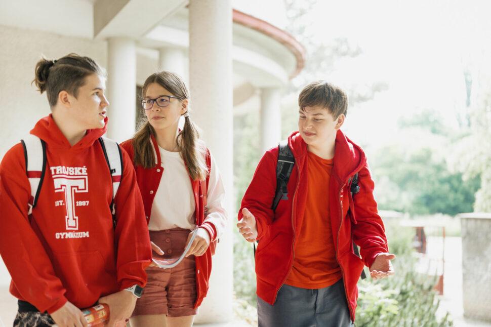 studenti TG ve venkovních prostorách školy, komunikace, hovor